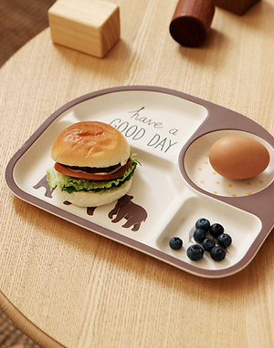 Grizzly Bear- Bamboo+Corn Kids Dinner Set <Ver.1>