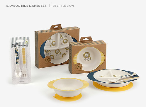 <Little Lion>Bamboo Suction Dinnerware Set