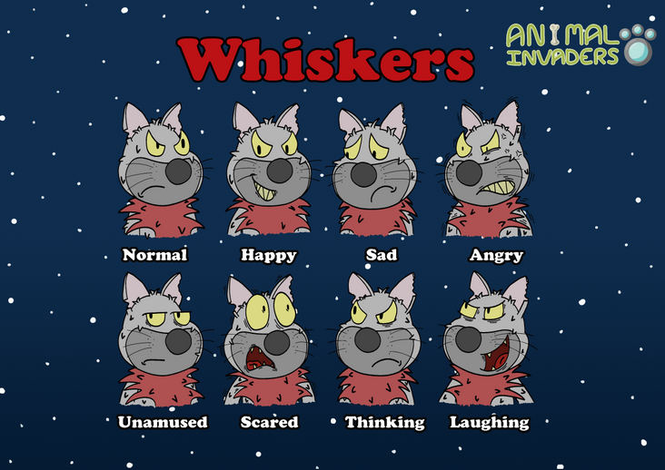 Character Expression Sheet (Whiskers)