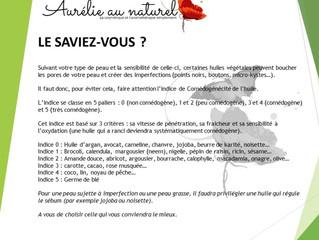 """Le Saviez-vous """"Indice comédogène huile végétale"""""""