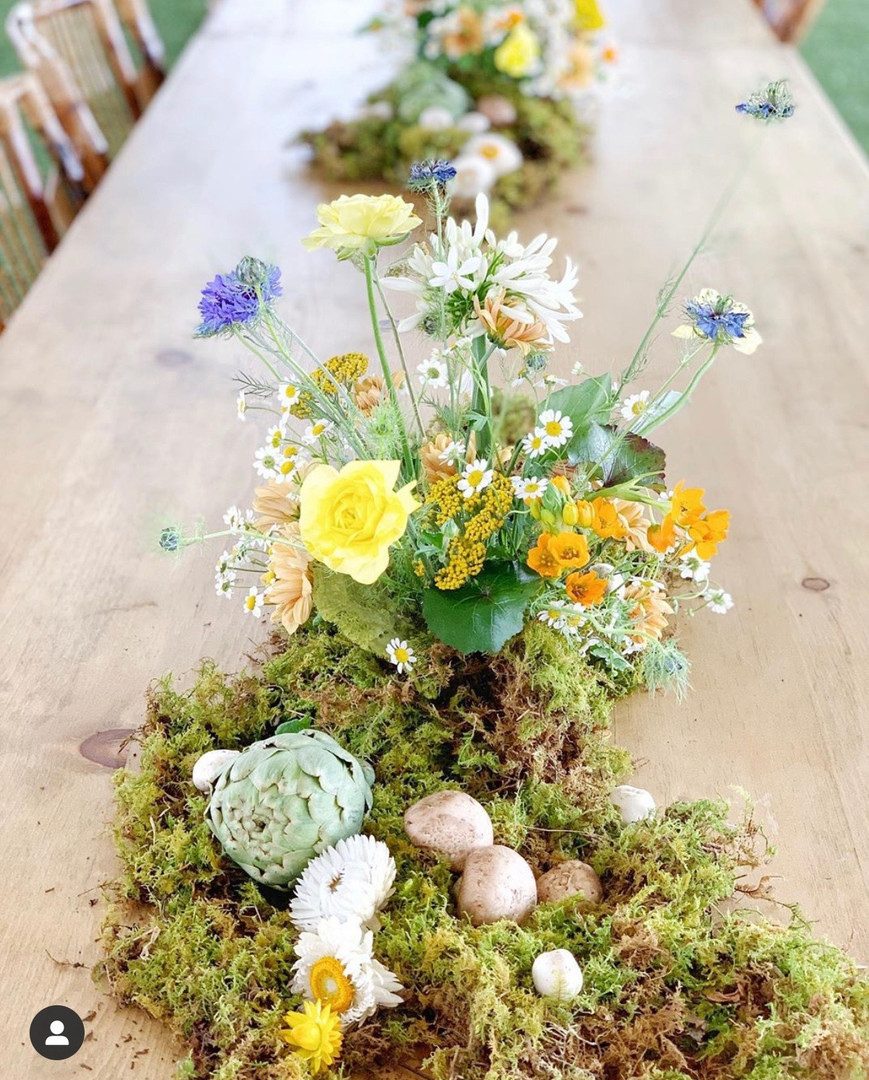Garden party tablescape close up