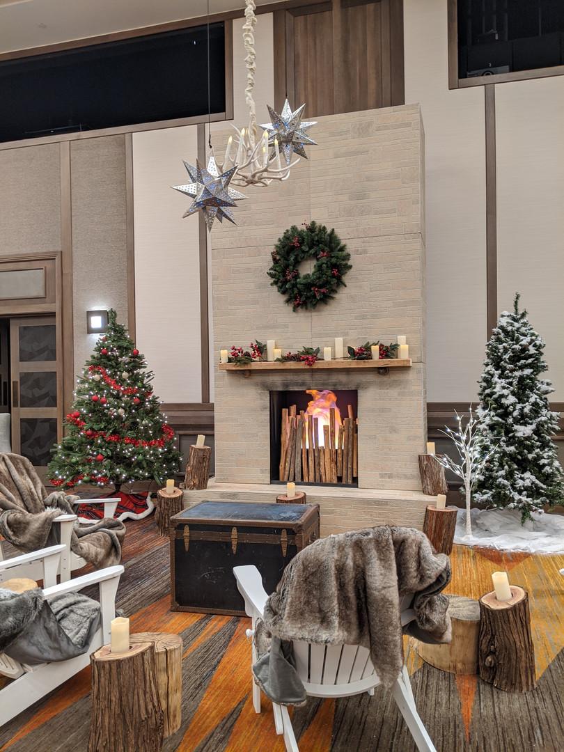 Christmas decor seating area