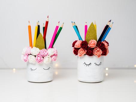 DIY - Einhorn Stiftehalter mit Blumen
