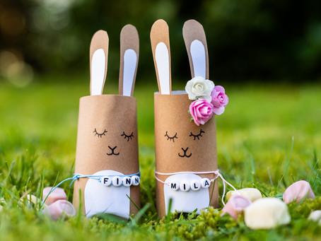 Geschenkverpackung Hase - DIY aus einer Klopapierrolle.