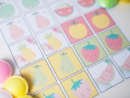 Memo Spiel für kleine Kinder mit süßen Früchten