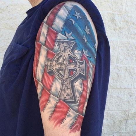Cross & Flag Tattoo