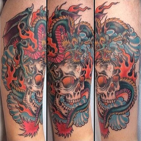 Dragon & Skull Tattoo