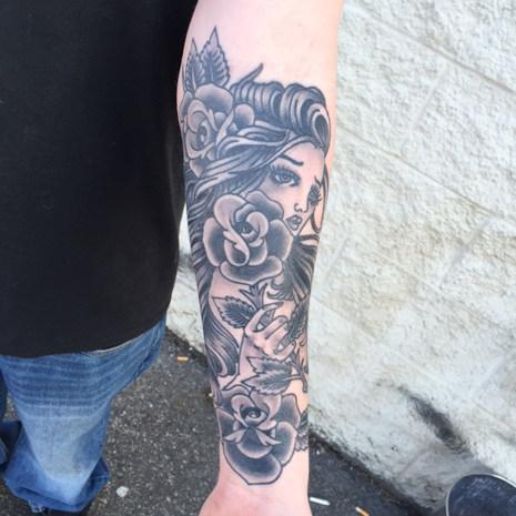 Woman & Rose Tattoo