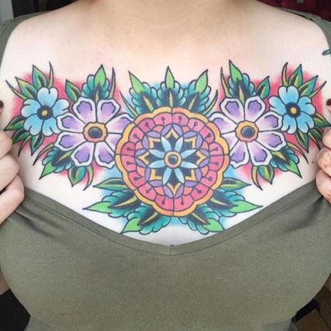 Chest Flower Tattoo