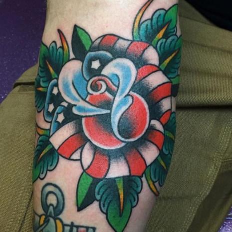 Patriotic Rose Tattoo