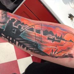 Sunset & Fishing Tattoo