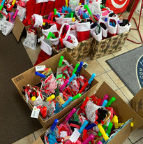 Santa stockings packed and ready to give to children