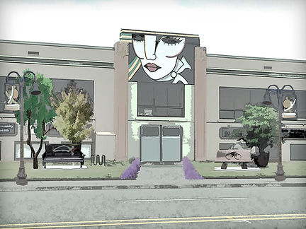A rendering of what the front of the Rush Building could look like after installing a mini-park