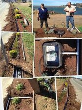 Installing irrigation at Gold Beach High School