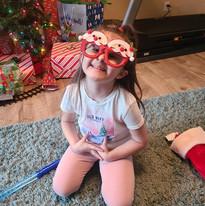 A recipient of a Santa stocking