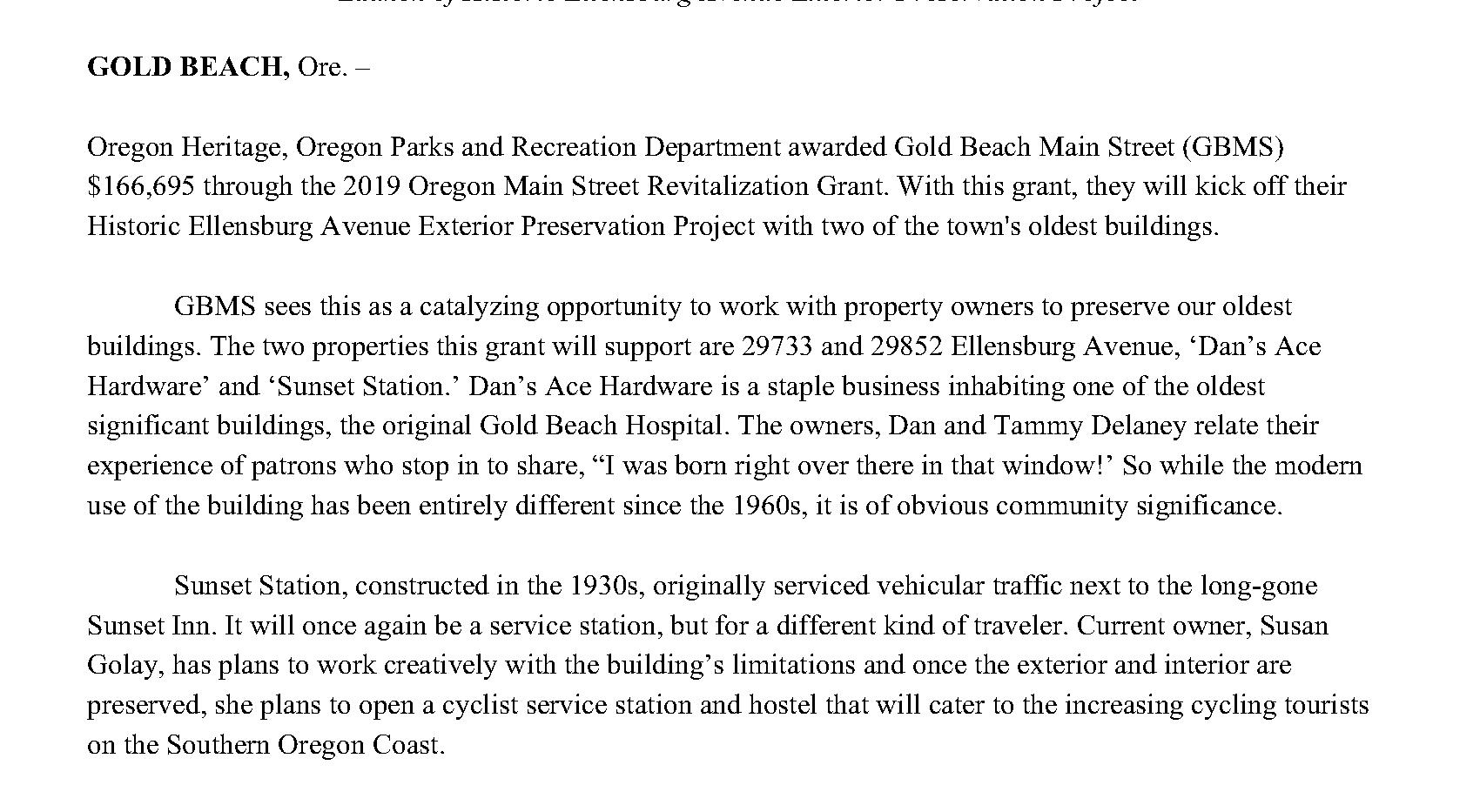 Press Release_ Gold Beach Main Street_OM