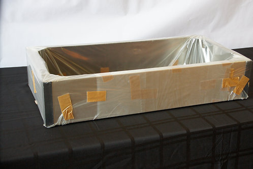 "30""W x 15""D x 6""T SS Island Duct Cover w/ Black Bands"