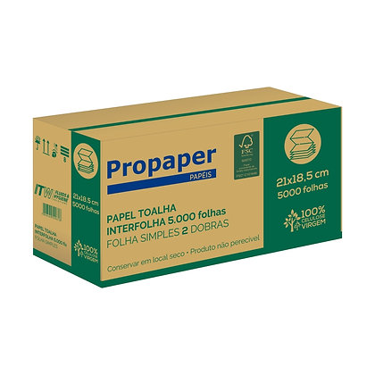 PAPEL TOALHA 2 DOBRAS PROPAPER VIP 5000 FOLHAS 21X18,5