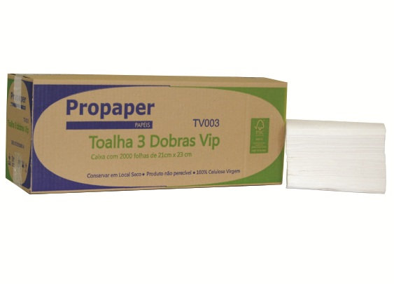 PAPEL TOALHA 3 DOBRAS PROPAPER VIP 2000 FOLHAS  21X23