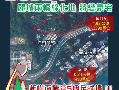 政府建議於荃灣麗城兩幅綠化地建住宅 面積達5個足球場