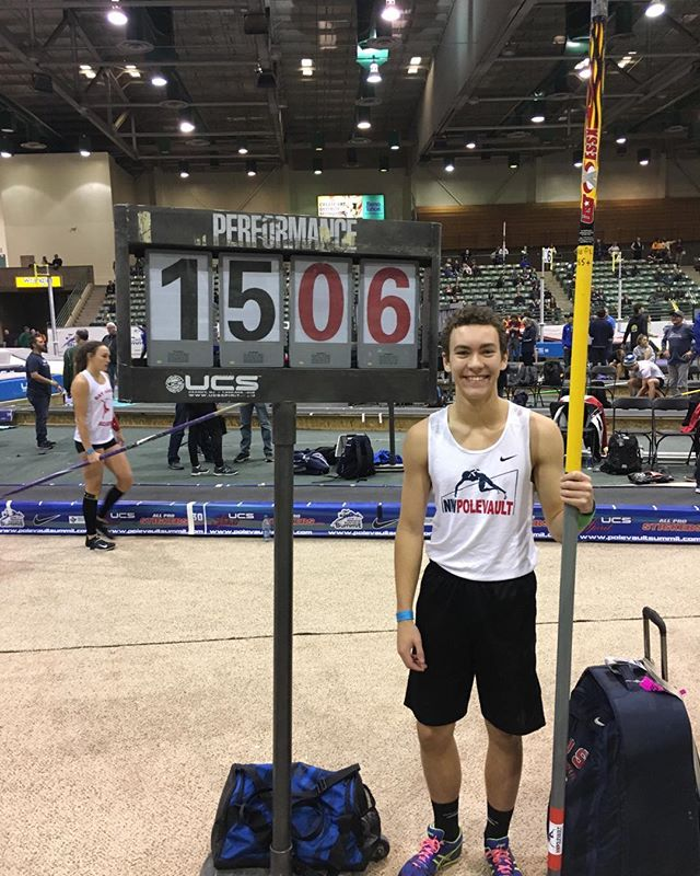 Zach proudly beams after his summit PR