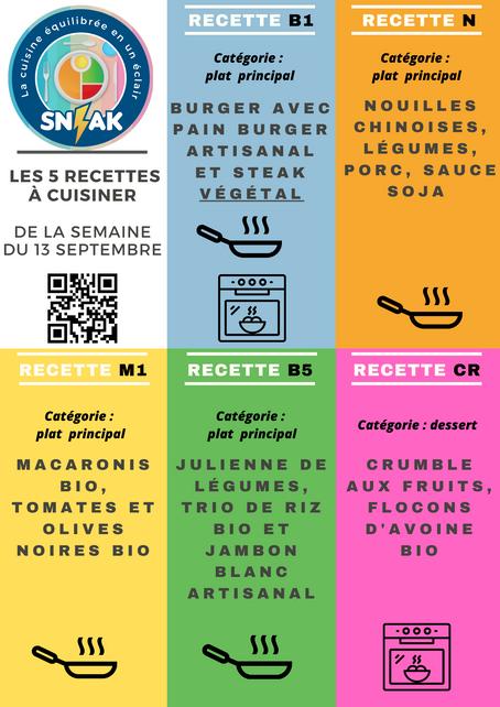 KIT prêt-à-cuisiner SN-AK 5 recettes pour la semaine du 13 septembre