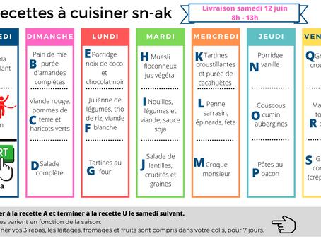 Les recettes à cuisiner SN-AK, validées par notre diététicienne, pour livraison le samedi 12 juin