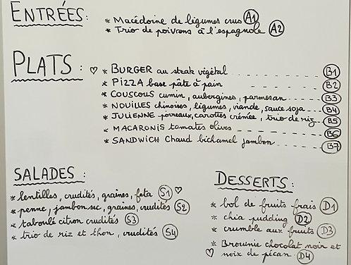 MENU complet équilibré : entrée - plat- dessert