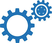 Engineering cogs icon.