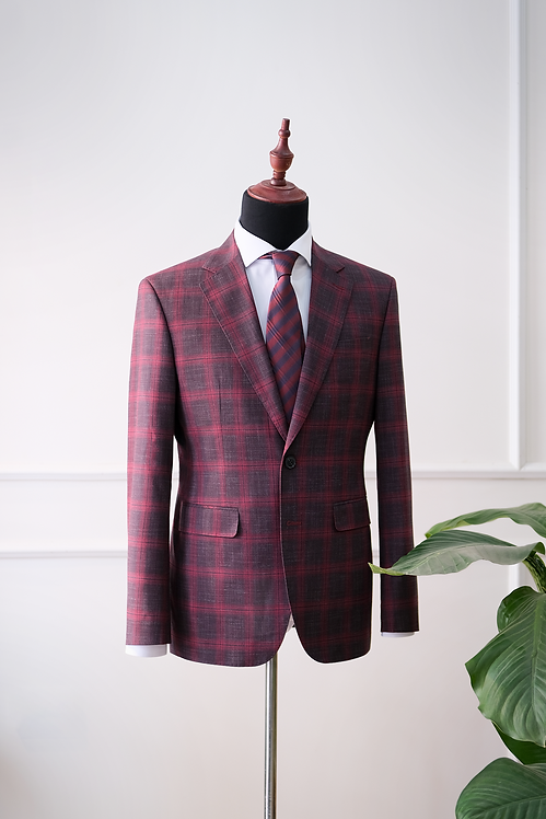 RTW Red-Brown Windowpane Blazer