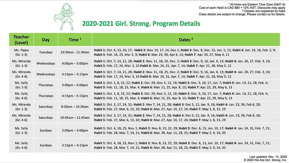 Girl strong calendar activities