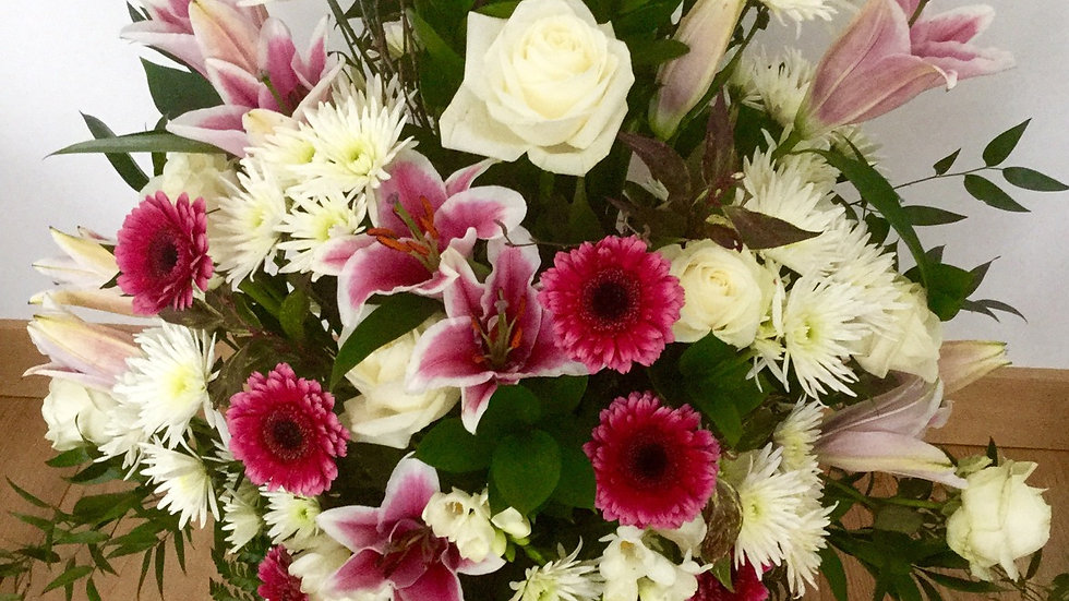 Sympathy flowers with vase