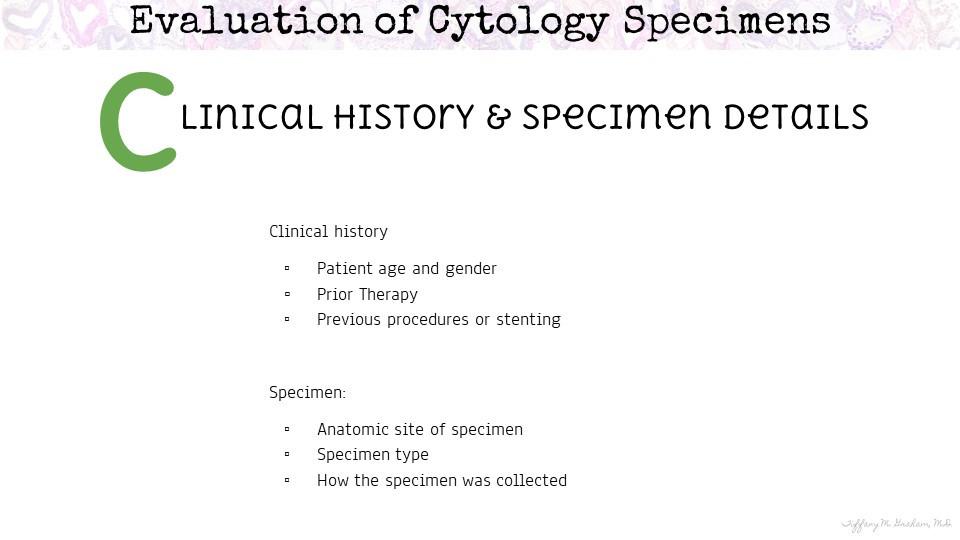 Clinical History & Specimen Details