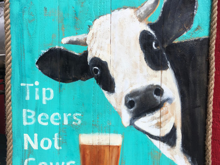 Cow Painting on Wood: New for SnoTown Brewery