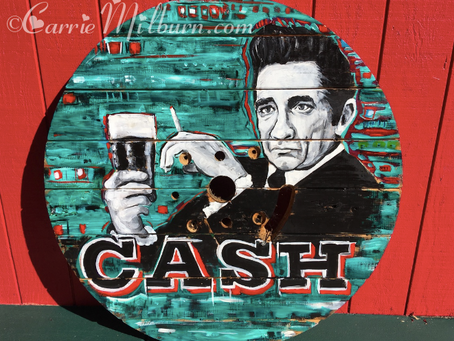 Another Johnny Cash Spool Top Painting