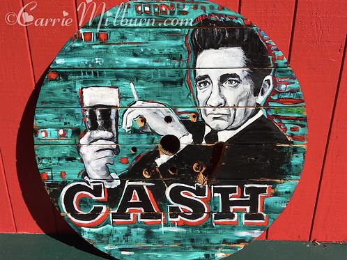 "Johnny Cash 42"" Wooden Spool Top"