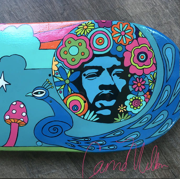 Jimi Hendrix skateboard deck designed by artist Carrie Milburn.