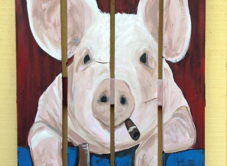 Happy Hour Pig Painting