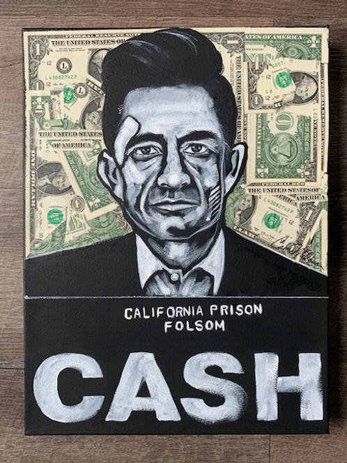 """Johnny Cash """"CASH"""" Canvas Painting, 12x16"""""""