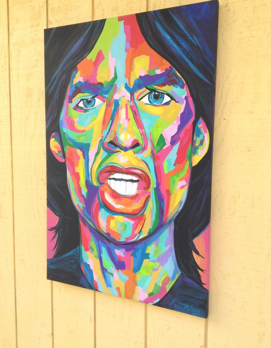 Original Mick Jagger painting by Snohomish artist Carrie Milburn