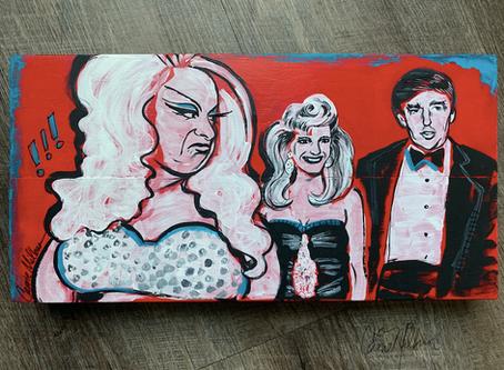 Divine + Trump Painting on Wood