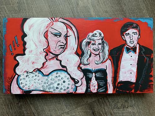 "Divine Trump Painting on Wood 14x7"""