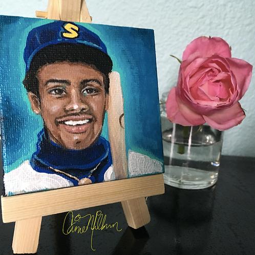 "Ken Griffey Jr. Mini Canvas Painting, 3x3"""