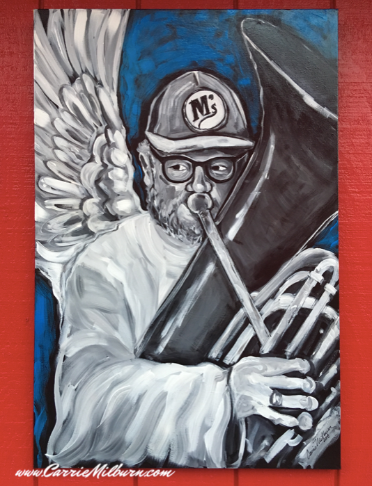 Tuba Man (Edward Scott McMichael) painting by artist Carrie Milburn of Snohomish, WA.