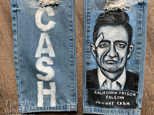 Johnny Cash Custom Painted Jeans