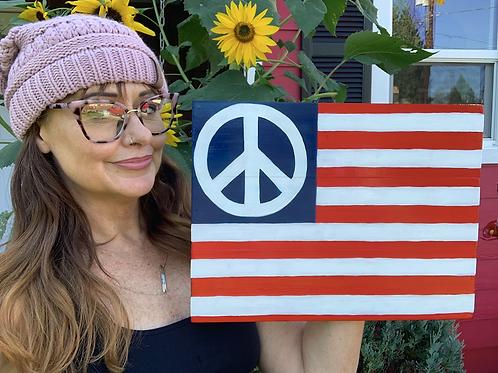 Peace Flag Painting on Wood