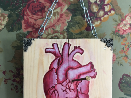 Grieving Heart Art: Mixed Media Anatomical Heart