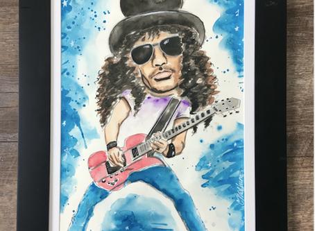 SLASH Guns N Roses Painting in Gouache