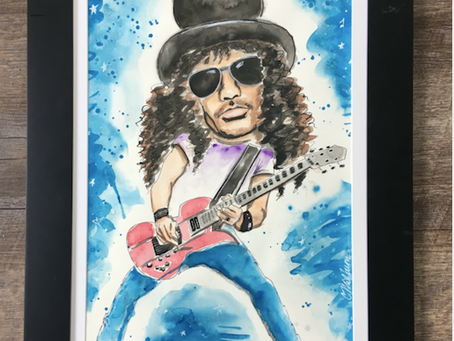 SLASH Guns N Roses Painting in Gouache
