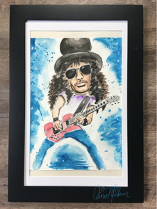 Guitarist Slash painting in gouache